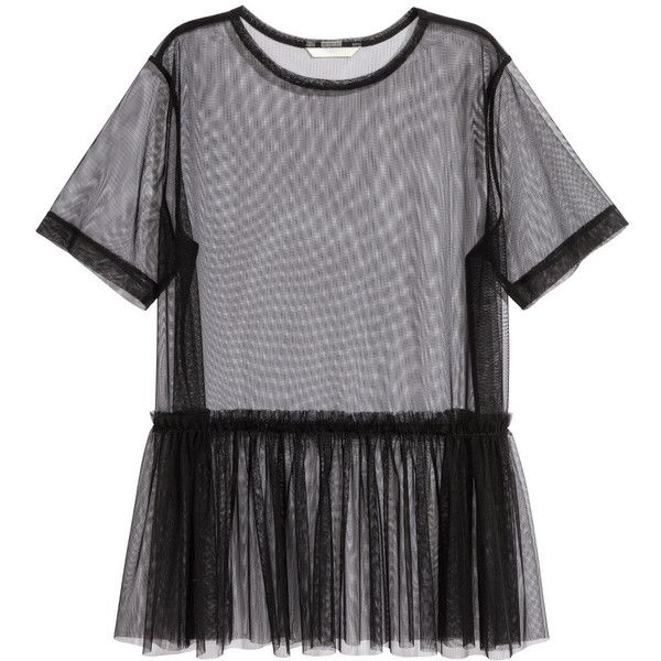 d781573f H&M Mesh Top $7.99 ($7.99) ❤ liked on Polyvore featuring tops, h&m, mesh top,  shirts, frilly tops, h&m tops, short sleeve ruffle top, shirred top and ...