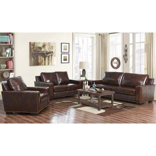 ABBYSON LIVING Barrington Hand Rubbed Top Grain Leather Sofa And Loveseat    16919284