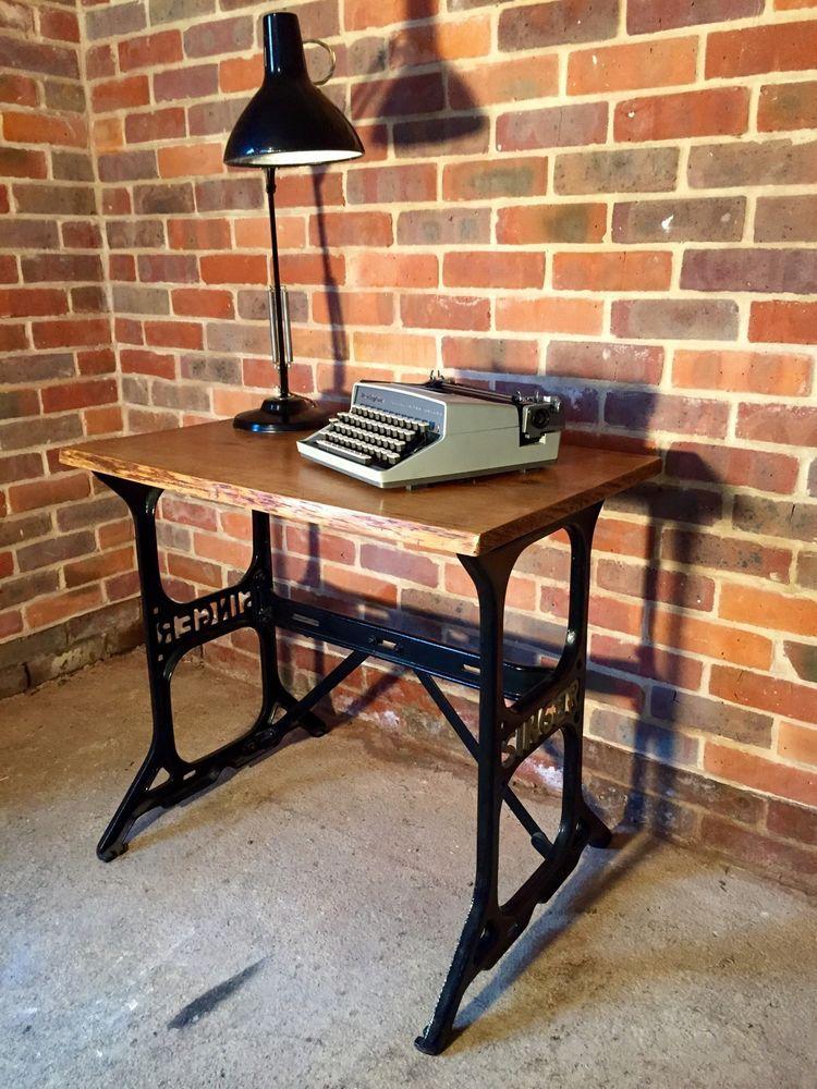 Vintage Industrial Singer Sewing Machine Base Desk Table W Oak Top Antique Pe De Maquina Decoracao Maquina De Costura