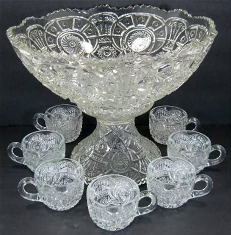 Eapg broken arches pattern punch bowl set with stand 7