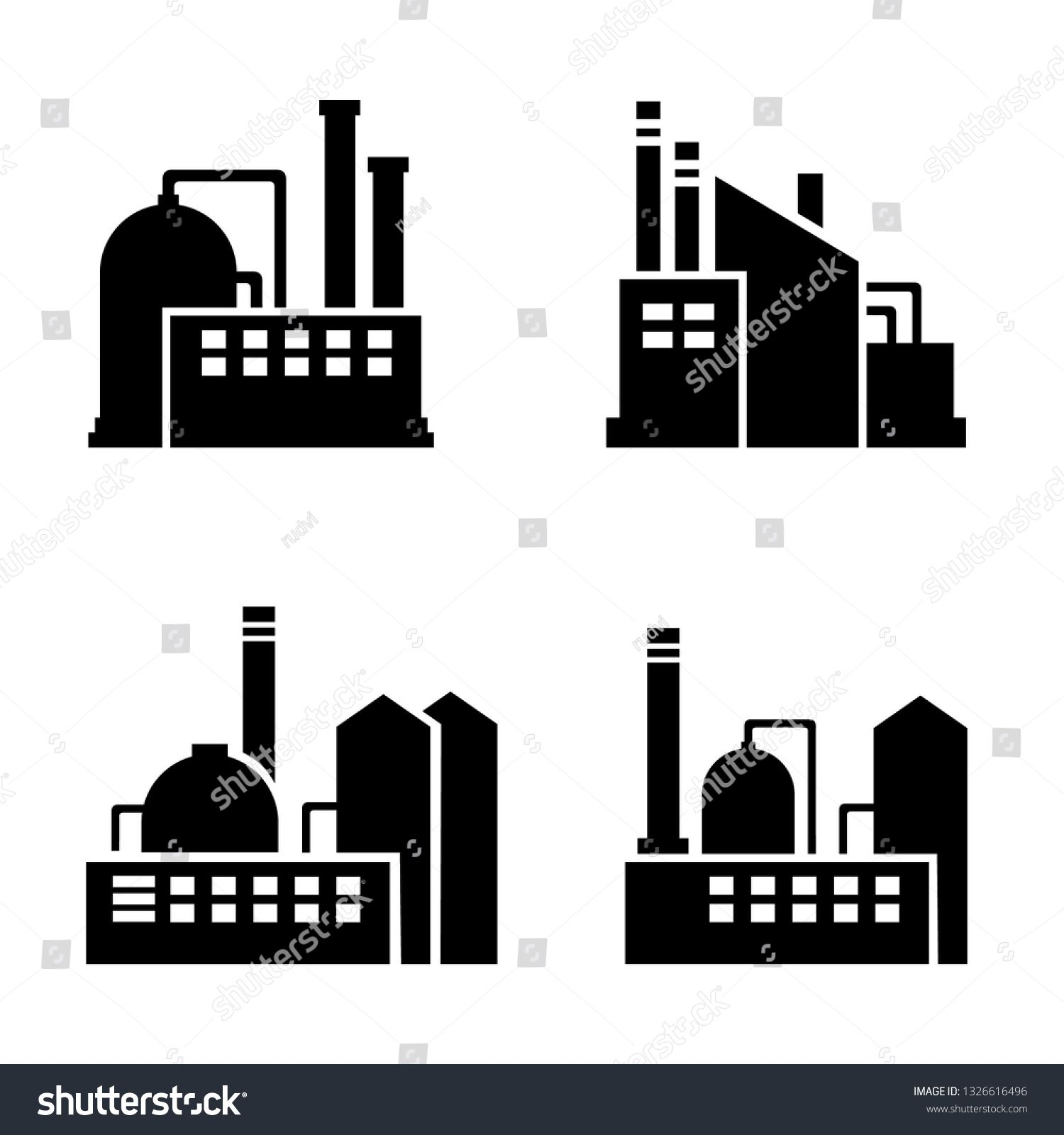 Factory silhouette icons, flat vector set plant industrial