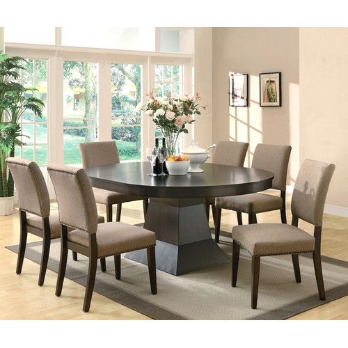 Infini Furnishings 7 Piece Dining Set Oval Table Dining Dining Room Sets Espresso Dining Set