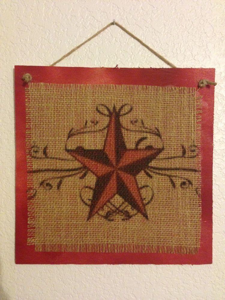 Handmade Burlap Wood Sign Red Nautical Star Western Art Country Decor Primitive Diy Signs