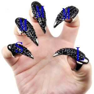 Vktech 10 Pcs False Nail Claw Paw Talon Finger Ring Black Crystal Gothic Punk Cosplay by Vktech. $13.50. M Size:middle app 13mm dia Length:55mm. Band Material : alloy Crystal. L(For thumb) Size:large app17mm dia Length:42mm. Gender:unisex. 100% Brand new and high quality. •100% Brand new and high quality  •Gender:unisex  •Band Material : alloy Crystal  •L(For thumb) Size:large app17mm dia Length:42mm  •M Size:middle app 13mm dia •Length:55mm. •S Size: s...
