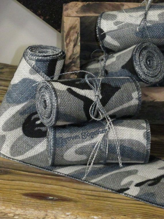 Blue Gray Camouflage Ribbon 5in. Camo Burlap by ThrownTogether, $7.75