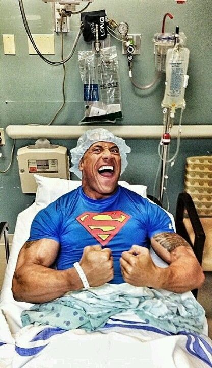 """Dwayne """"The Rock"""" Johnson...getting his hernia repair done...he said in people magazine that after the surgery his """"junk"""" swelled up and he said...man now its caught up with the rest of me! Lol"""