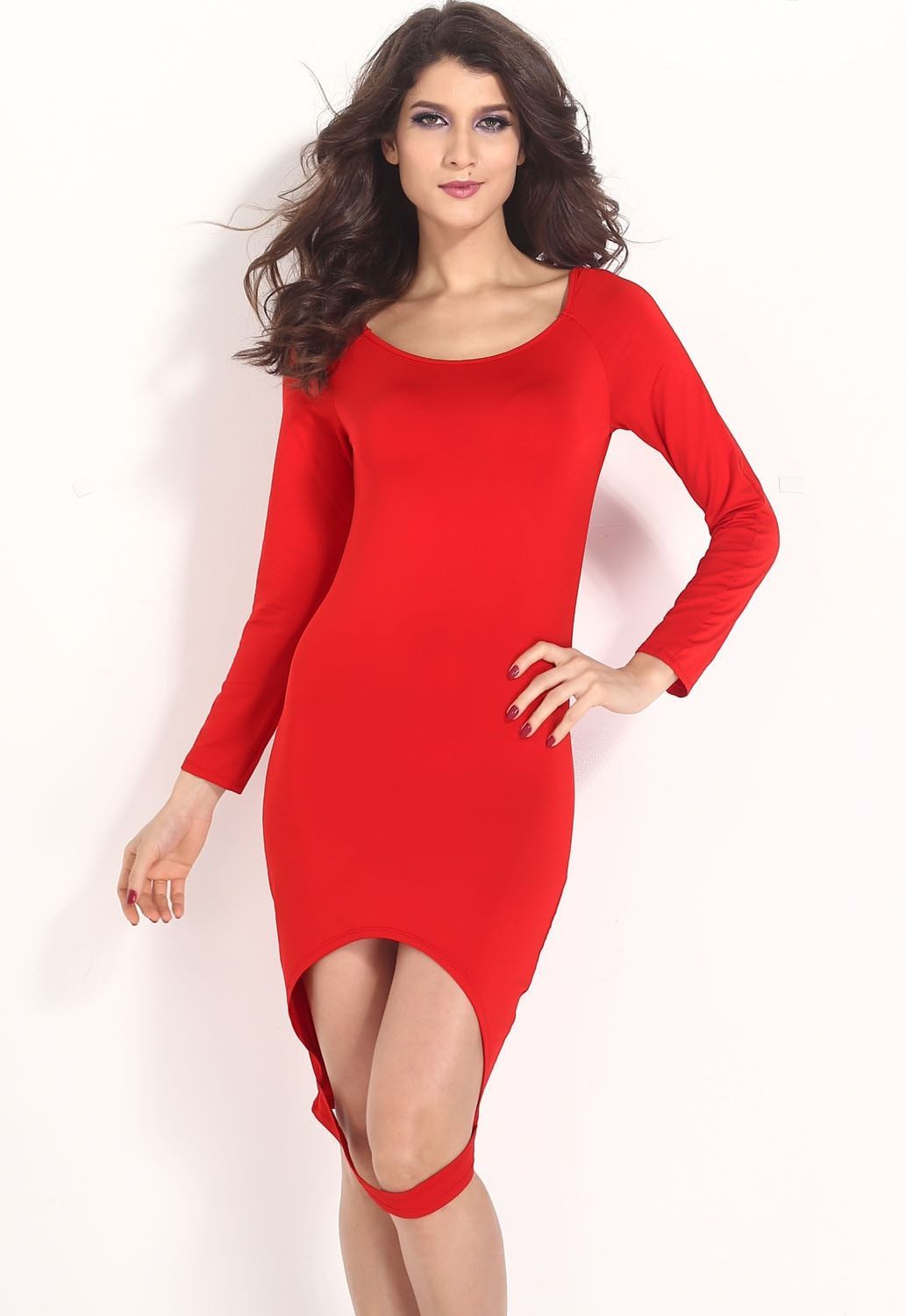 Red Hollow-out Front Hem Bodycon Dress