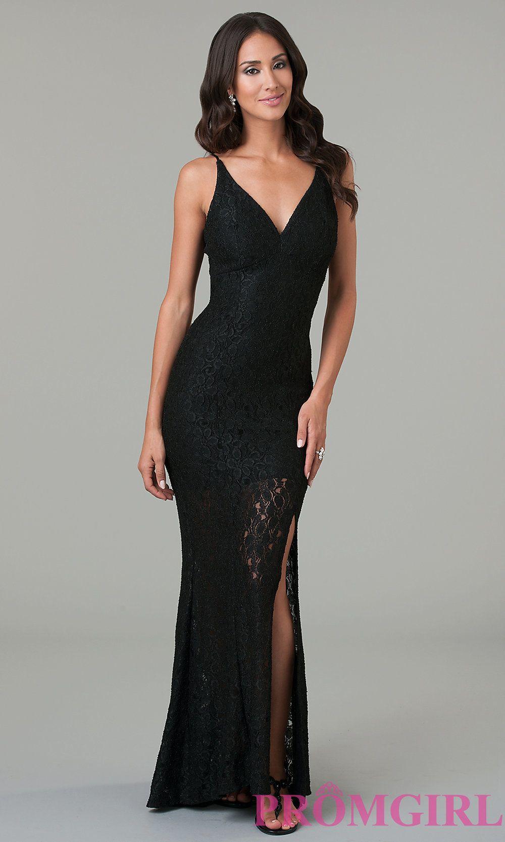 39a2d843d Long Black Lace Dress Promgirl