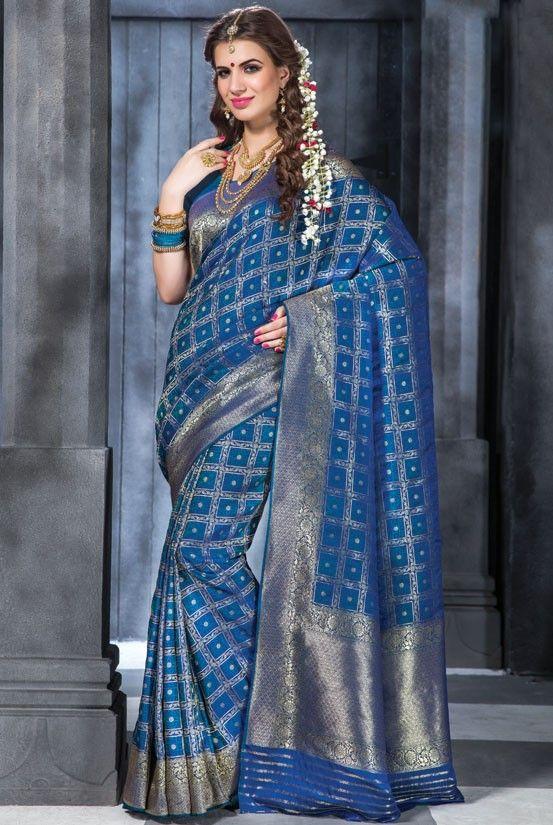 762d5c7e10684 Royal Blue Banarasi Silk Saree