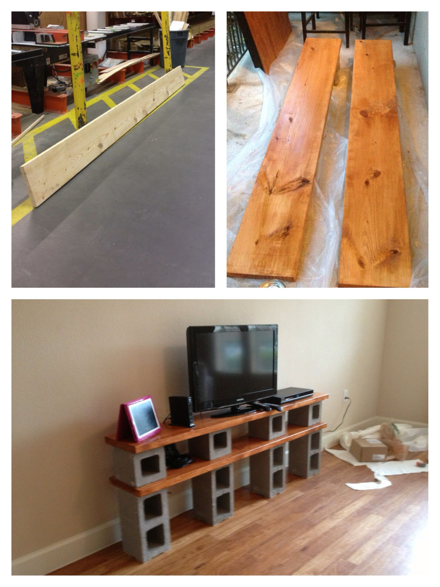 Our TV stand- cinder blocks/concrete and stained wood  | DIY