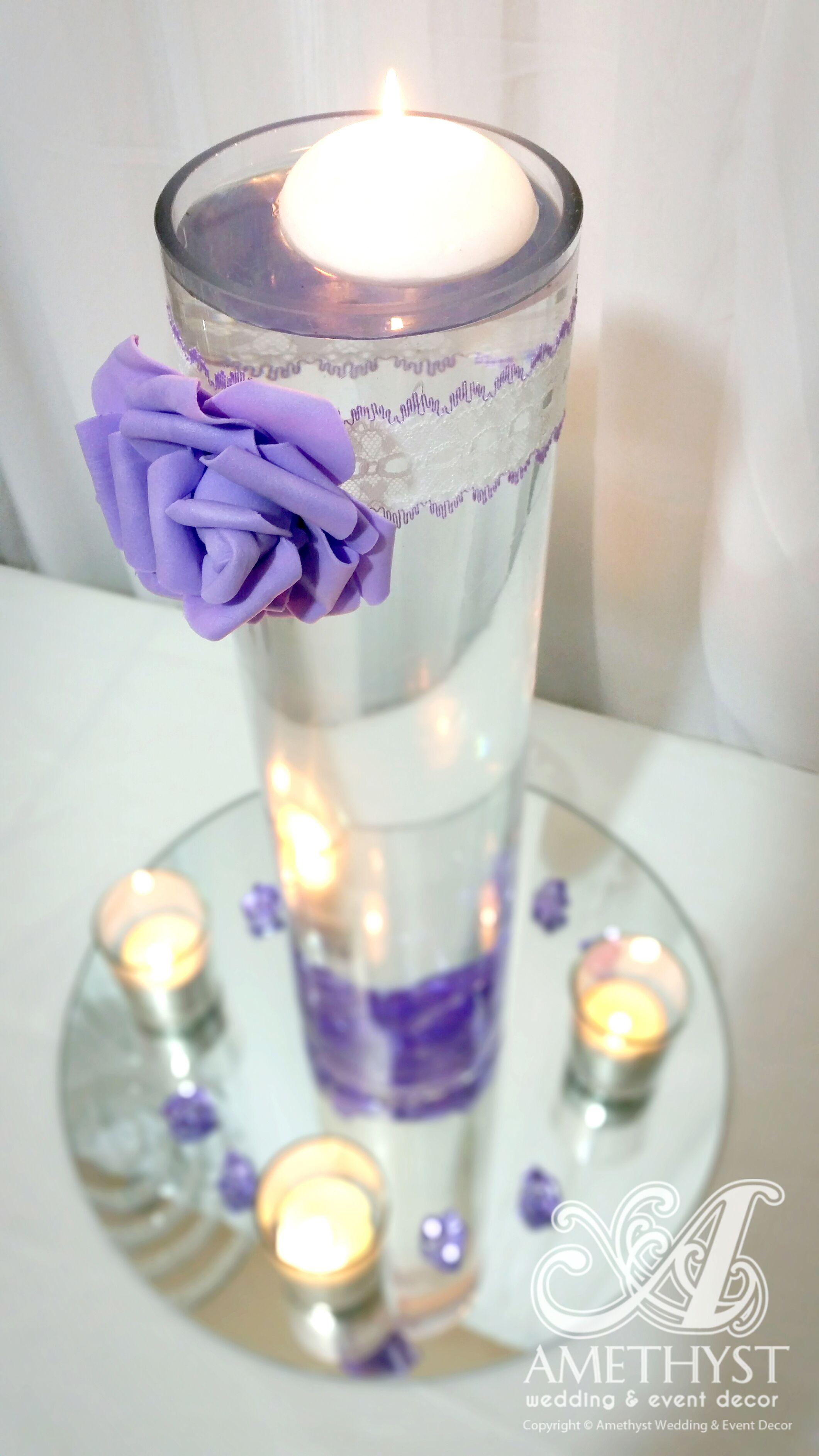 Simple & elegant wedding centerpiece: 40cm cylinder vase, Purple PU ...