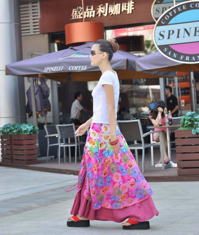 Pink Boho Skirt Romantic Double-layer Skirt Printing Long Maxi Skirt Summer Skirt for Women - NC071. $74.99, via Etsy.