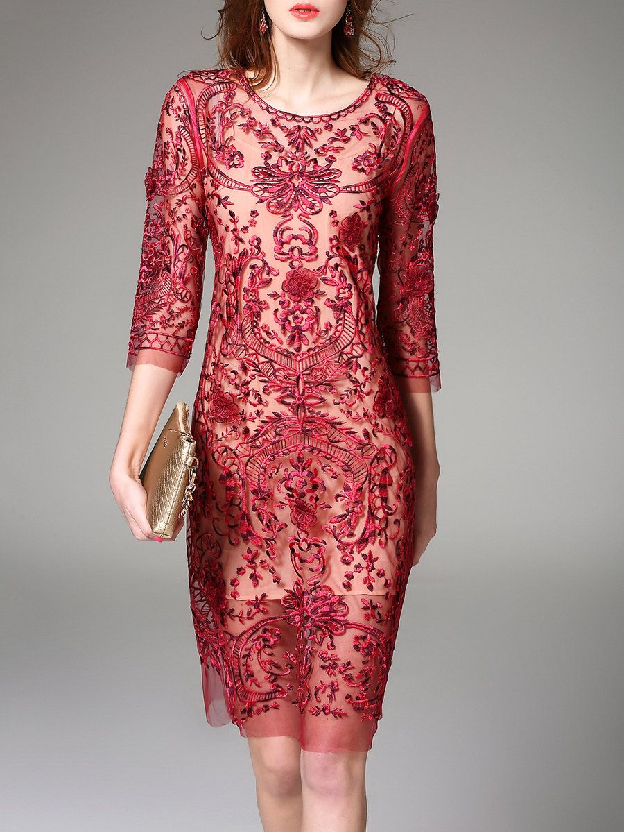 Adorewe Nexiia 3 4 Sleeve Sheath Floral Polyester Casual Midi Dress Adorewe Com Midi Dress Casual Casual Formal Dresses Chiffon Midi Dress [ 1199 x 900 Pixel ]