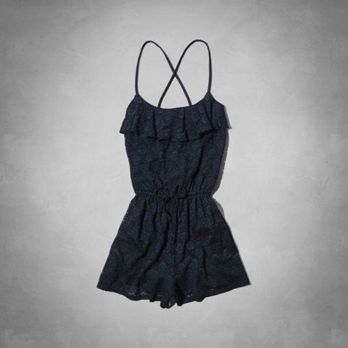 4b04ae223bd7 Cute navy blue lace romper from Abercrombie Kids.