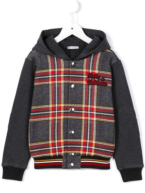 Dolce & Gabbana Kids check hooded jacket