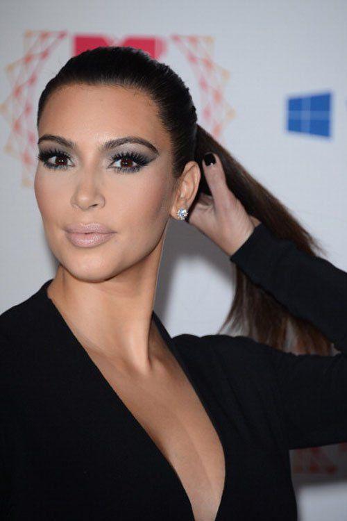 Kardashian Fashion #kimkardashian #celebrity #fashion #makeup  #style #ponytail #nails #blackeyesmakeup