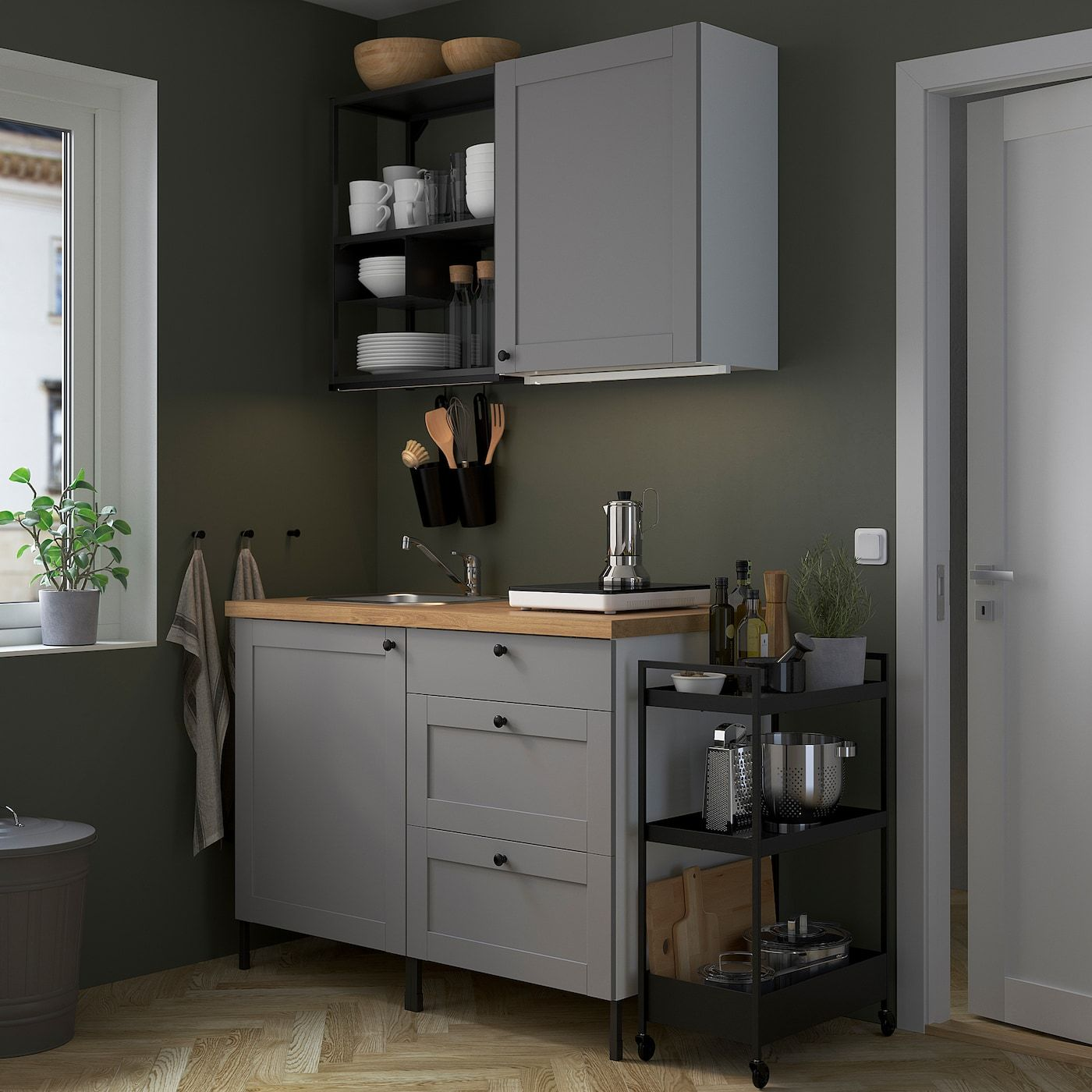 enhet keuken antraciet grijs frame