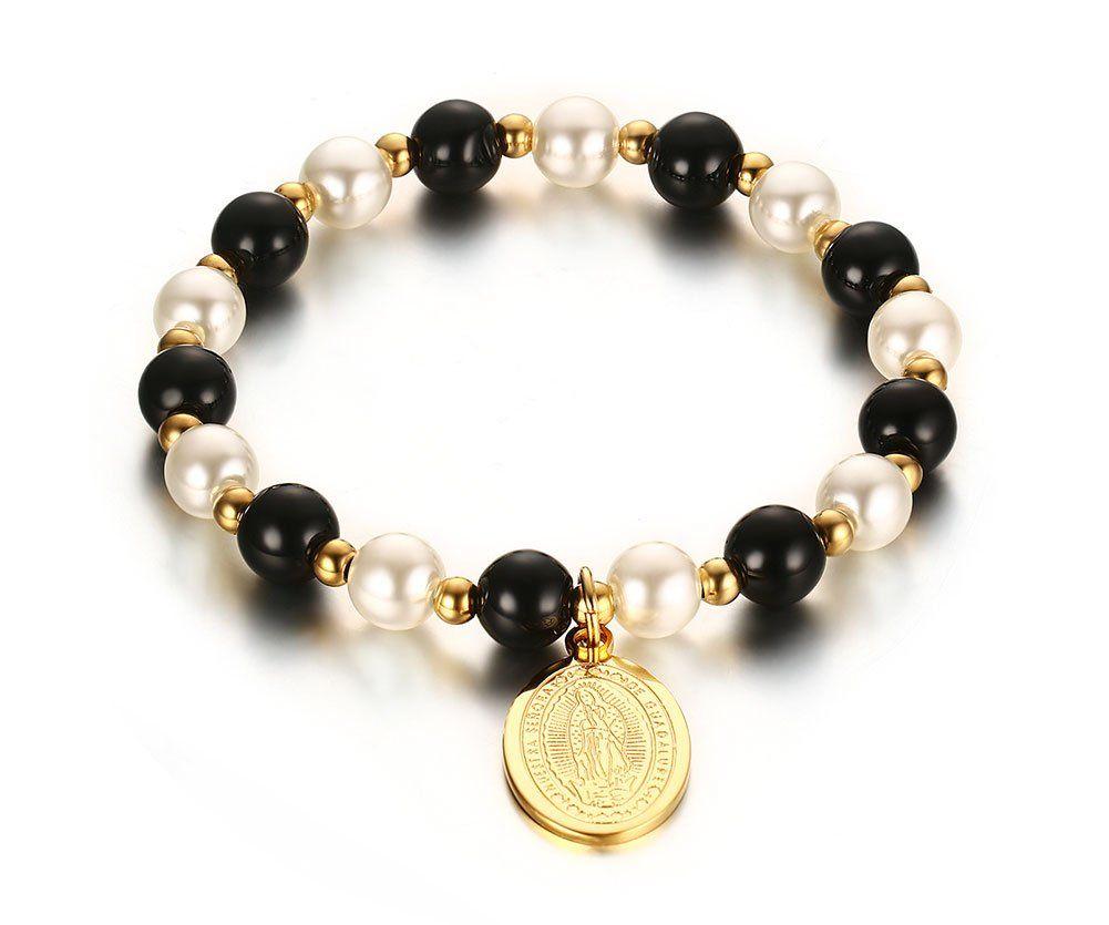 Vnox freshwater pearl and black agate beads stainless steel virgin