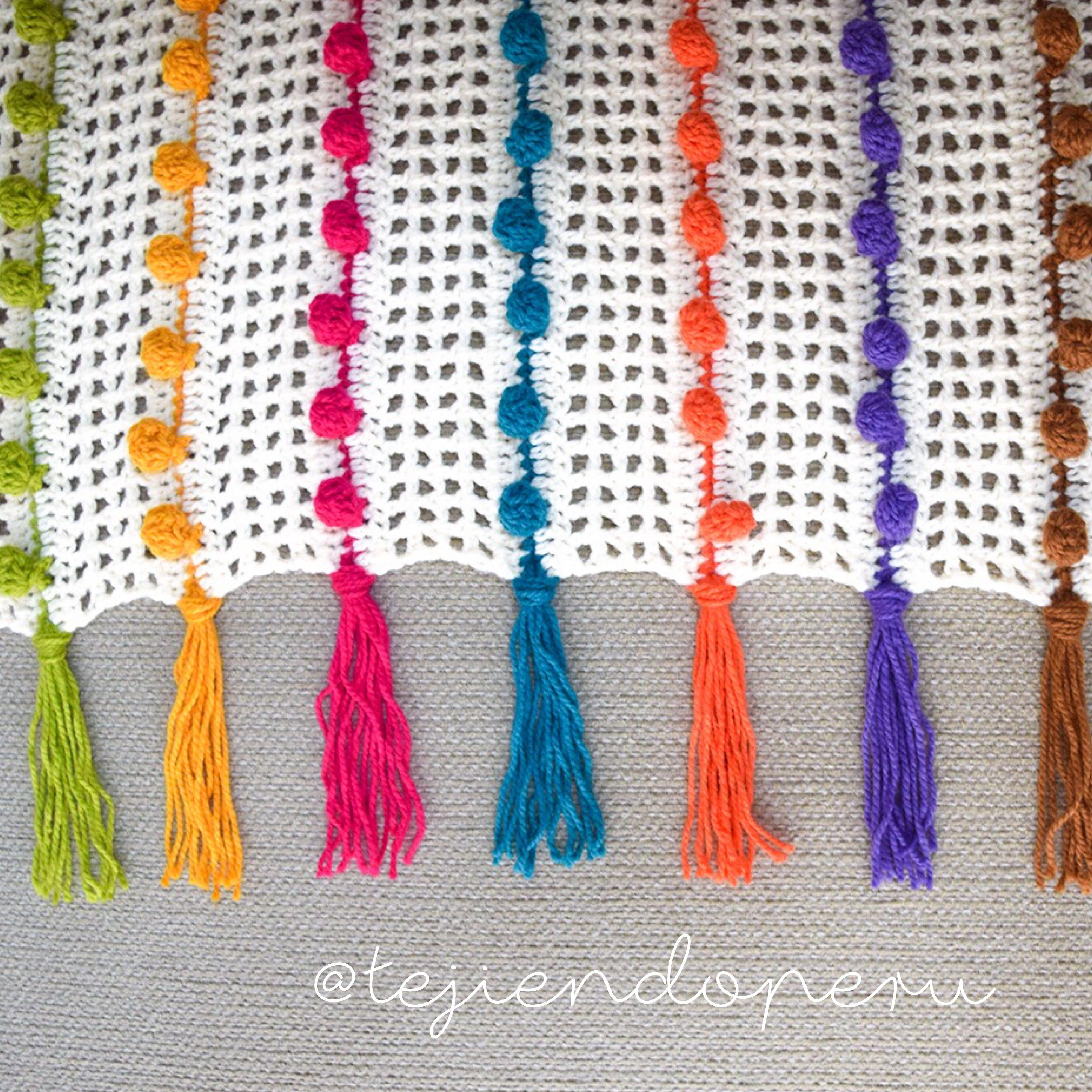 Crochet: colcha tejida en punto pompón (pompom stitch)! Paso a paso ...