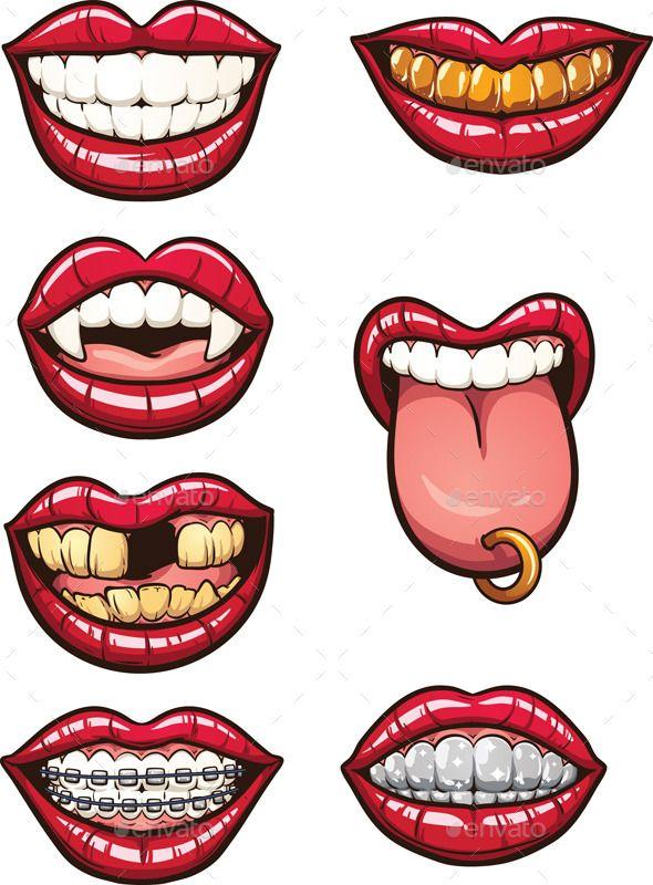 Cartoon Lips : cartoon, Cartoon, Mouths, Mouths,, Illustration,, Mouth, Drawing