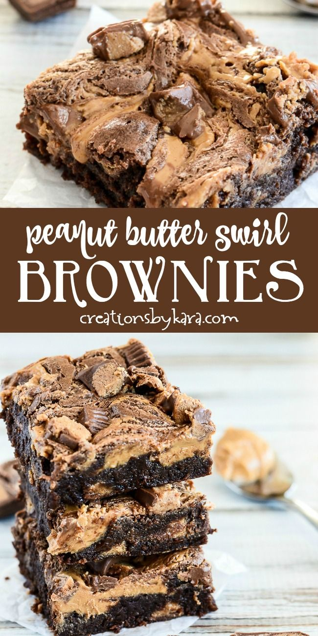 Reese's Peanut Butter Swirl Brownies #peanutbuttersquares