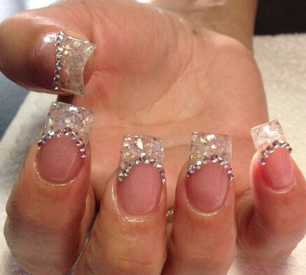 French Tip Nails With Little Diamonds
