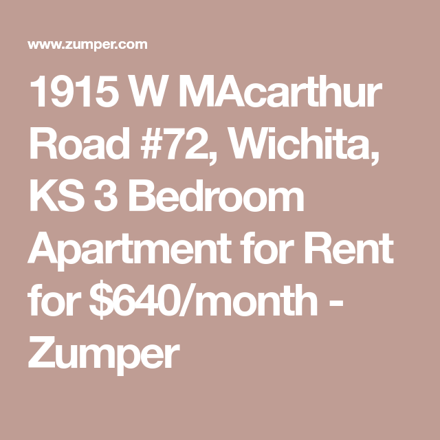 1915 W MAcarthur Road #72, Wichita, KS 3 Bedroom Apartment