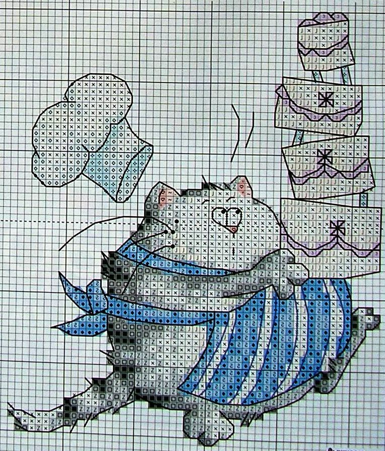 схема вышивки коты кулинары