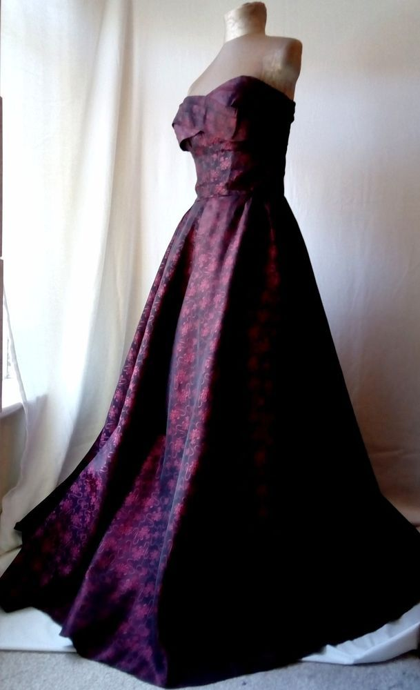 Exquisite original 1940s 1950s wine red damask ball gown formal ...