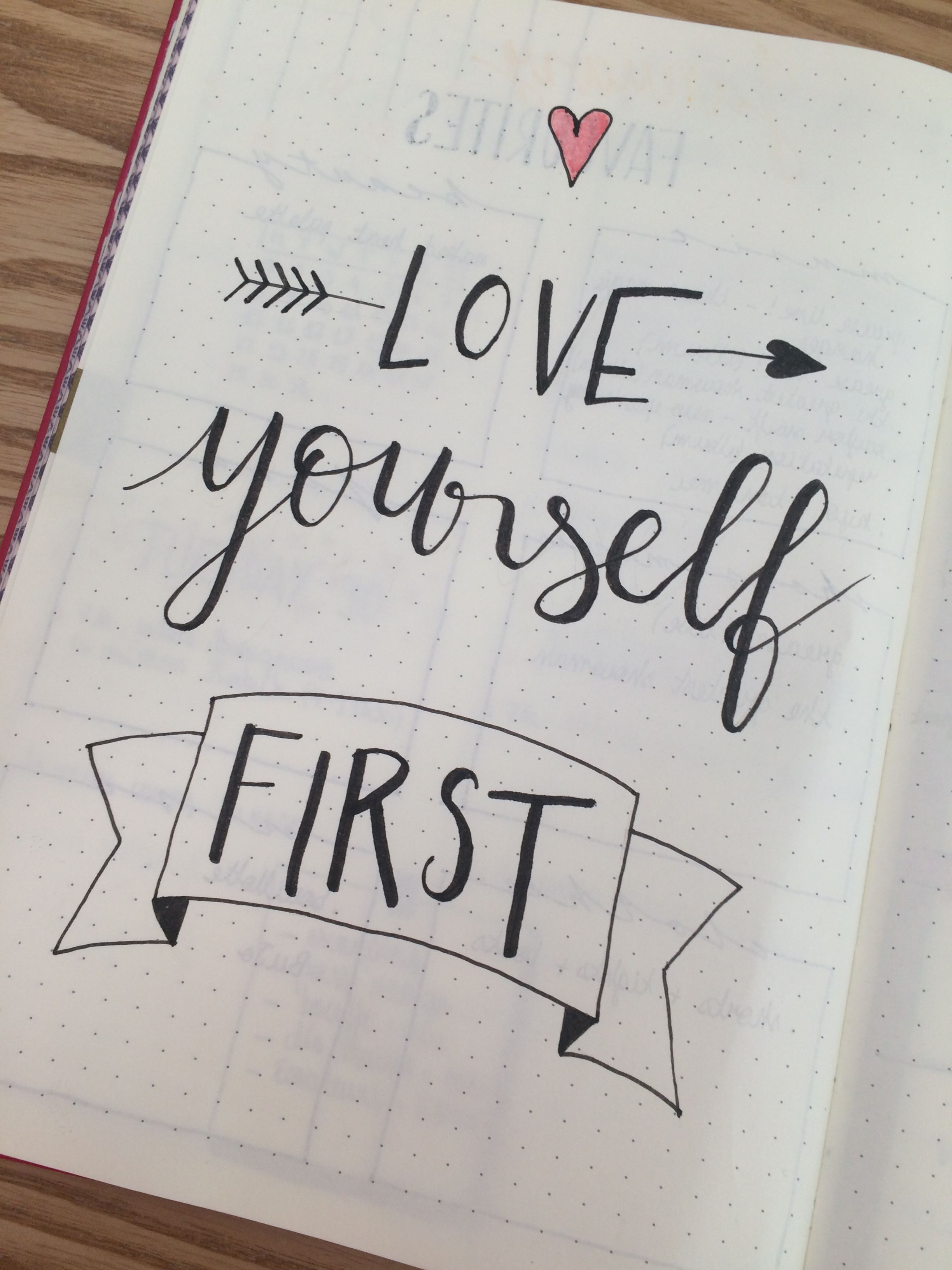 Bullet journal, love yourself first quote, inspired by ...