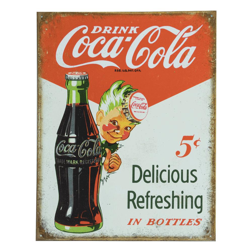 Delicious /& Refreshing 5¢ Coke Drink Coca-Cola Tin Metal Sign Sprite Boy