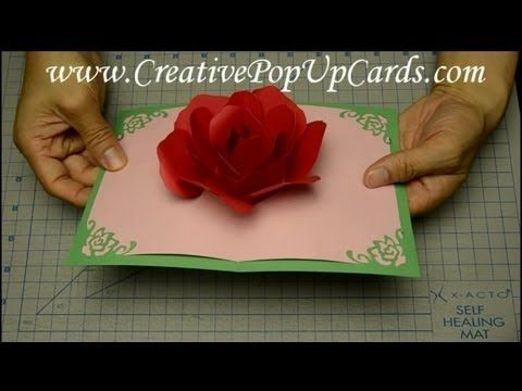 Rose Pop Up Card - YouTube .... WOW! The POP-UP ROSE is great but pretty tricky. The tutorial is well done, however you will want to decorate the front better  use a different color palette.
