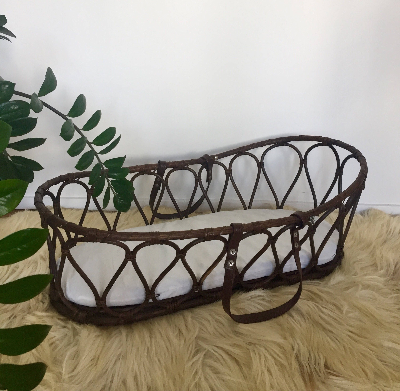 80s baby basket crib Moses Basket rattan bamboo