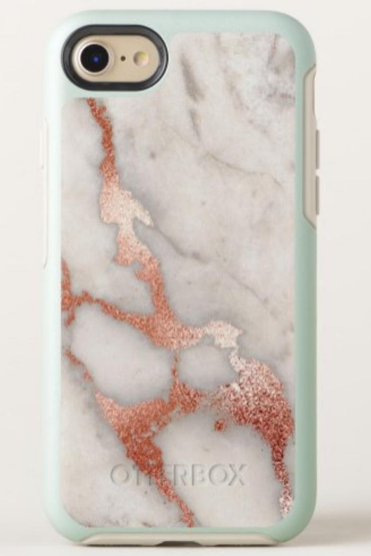 huge discount 7437f 9bb2d Marble Rose Gold Glitter OtterBox iPhone 8/7 Case | Zazzle.com in ...