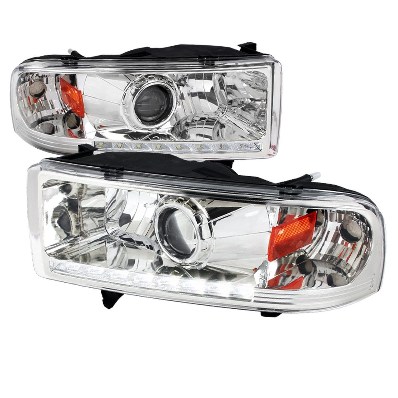 Spec D Projector Headlights Dodge Ram Led Drl Strip 94 01 Black Smoked Chrome In 2021 Projector Headlights Dodge Ram Headlights