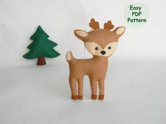 Felt Deer Pdf Pattern Felt Deer Ornament Woodland Deer