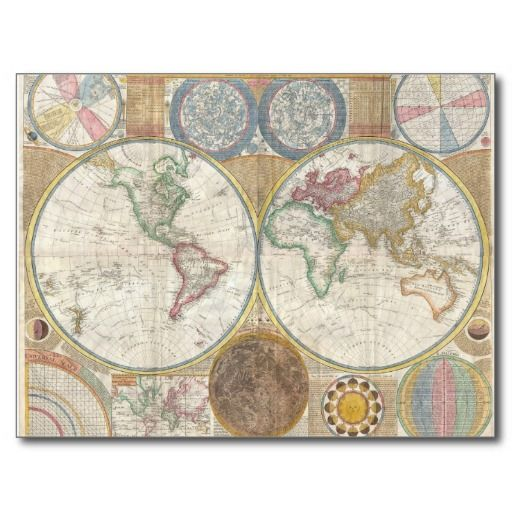 Vintage World Map Post Card