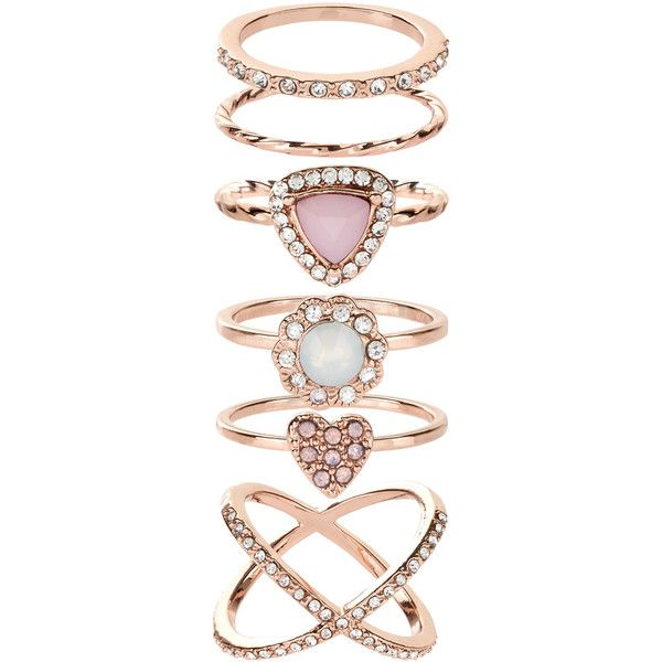 Accessorize Pretty Rose Gold Styling Ring Set 23 liked on