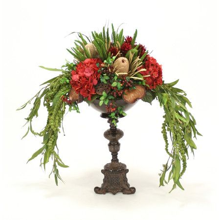 """Artificial Burgundy-Green Foliage and Floral Mix in a Metal Bowl Atop an Ornate Espresso Candlestick Pedestal - Although """"silk"""" is a common term used to d..."""