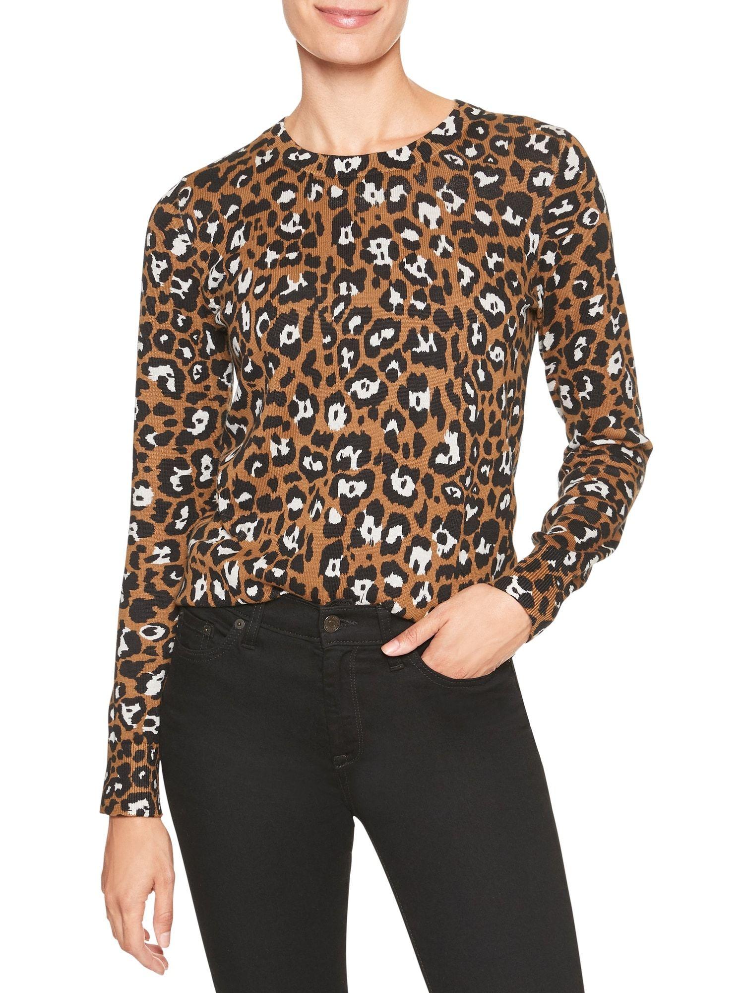 Banana Republic Factory Cheetah Crew Neck Sweater Women