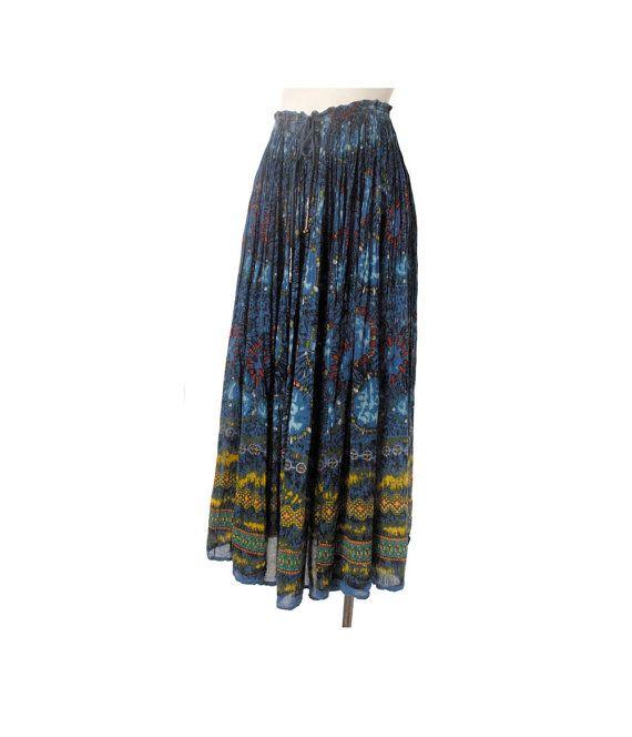 77d17b4b56a Vintage 70s Skirt - 70s India Skirt - 70s Broomstick Skirt - India  Broomstick Skirt - 70s Boho Skirt - Blue Yellow - India Block Print XL