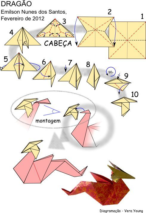 Origami    Dragon Folding Instructions   craft      Origami