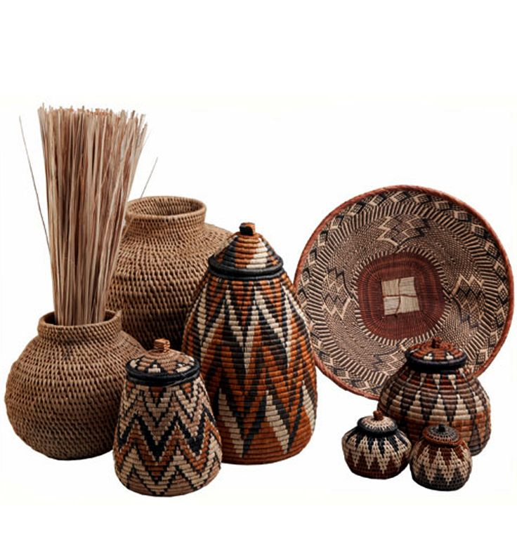 Africa   Collection of Zulu baskets   Natural fibers, dyes