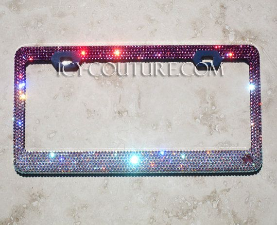 PINK FADE Swarovski Crystal Bling License Plate Frames in 2018 ...