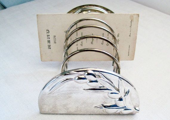 Vintage French Toast Rack Letter Holder Photo Holder Silver Plated with Olive Branch Design