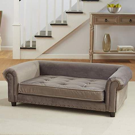 Enchanted Home Pet Grey Velvet Manchester Pet Sofa 44 5 L X 27 5