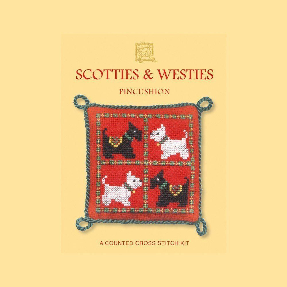 Scotties /& Westies Counted Cross Stitch Pincushion Kit by Textile Heritage