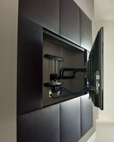 For media room - TV mounts allow for movement, and recessing into
