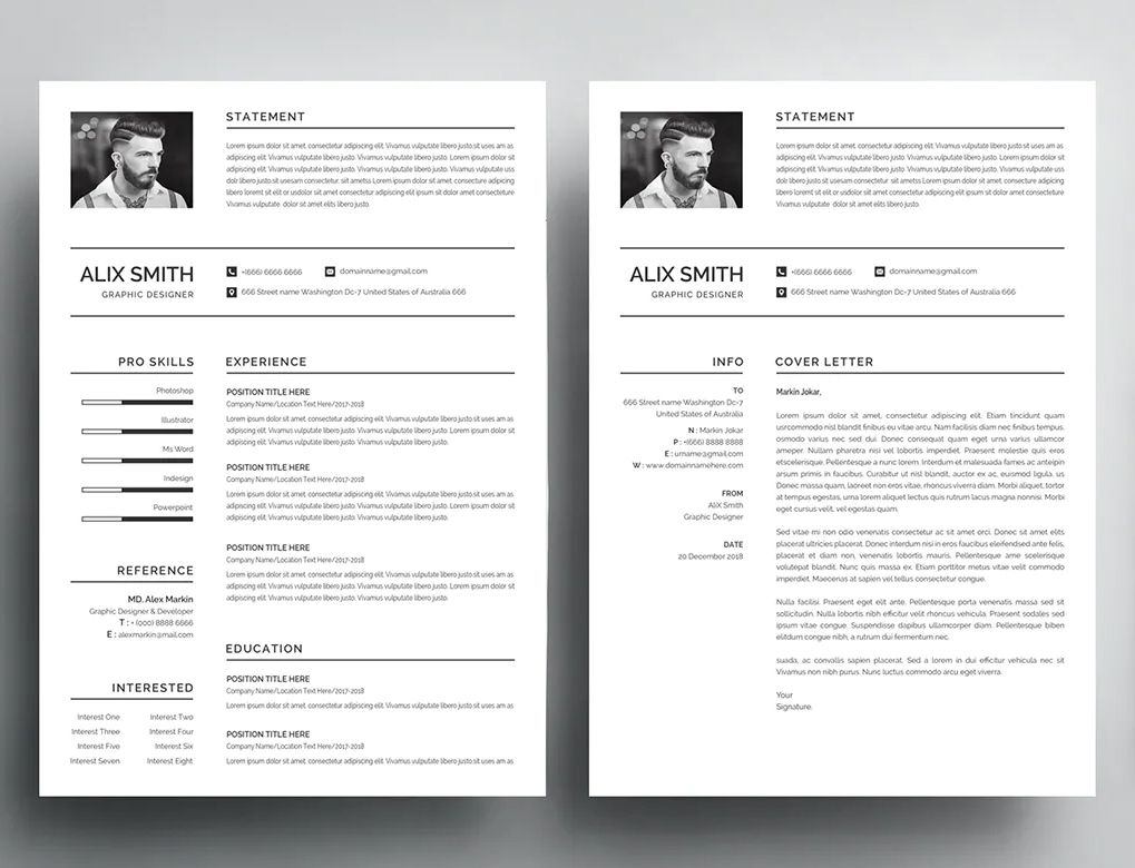 Resume Template AI, EPS, PSD, MS Word Download Resume