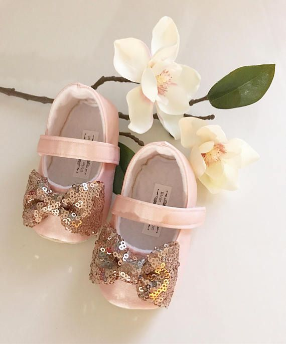 Blush Shoes with Rose Gold Bow Toddler